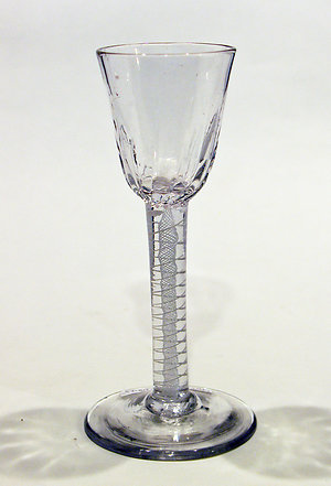 Drinking glasses 1750-1790, opaque twists, facet stems & drams.. JW169