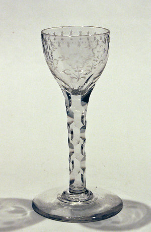Drinking glasses 1750-1790, opaque twists, facet stems & drams.. Engraved facet stem