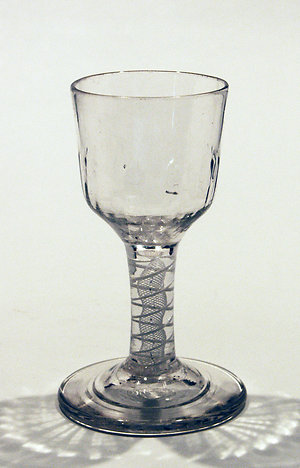 Drinking glasses 1750-1790, opaque twists, facet stems & drams.. Opaque twist firing glass